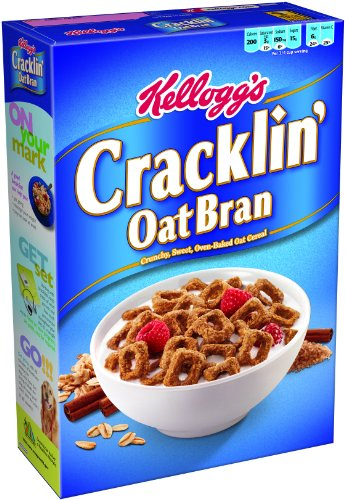 Kellogg's Breakfast Cereal, Cracklin' Oat Bran, Excellent Source of Fiber, Made with Whole Grain, 17 oz Box(Pack of 10) ()