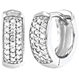 925 Sterling Silver Clear CZ Small Wide Huggie Hoop Girl Earrings 0.31""