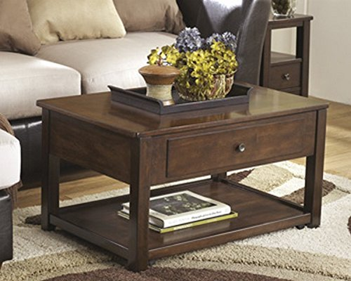 (Ashley Furniture Signature Design - Marion Lift Top Coffee Table - 1 Drawer and 1 Fixed Shelf - Contemporary - Dark Brown)