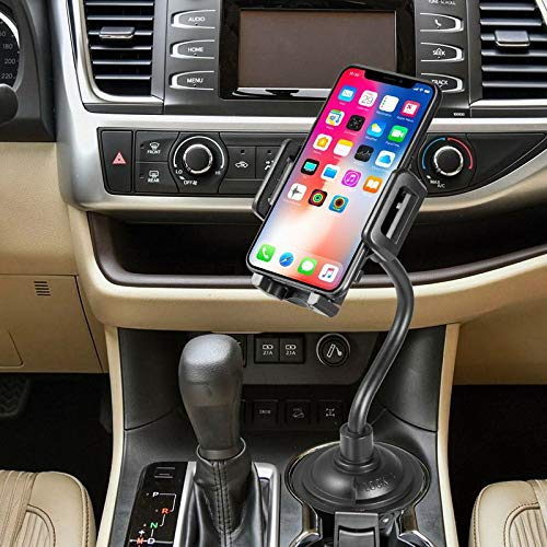 Universal Adjustable Cell Phone 360 Rotatable Cradle with Long Neck compatible with iPhone X XS Max XR 8 Plus 7 Samsung Galaxy S10//S10 Plus//S10e//S9 S8 Note 9 8//Smartphones Car Cup Holder Mount Black