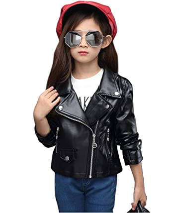 Suncaya Kinder Mädchen Motorrad Leder PU Jacke Lederjacke