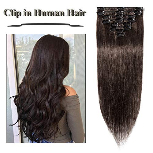Clip in Hair Extensions Dark Brown 14-24 inch Remy Human Hair for Women 8pcs 18 Clips Full Head Soft Straight Hair(22