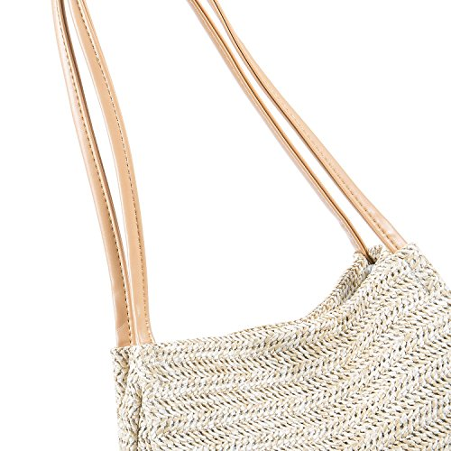 Weaving Bags Beach bag Bucket Straw Ladies Holiday Beige Casual Shoulder Summer Shoulder Handbag SODIAL Bag OPqUzxSwq