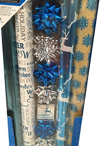 BLUE CHRISTMAS ~ Gift Wrap Set with Bows & Ribbon by HOLIDAY TIME!