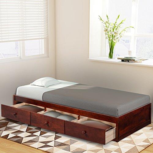 Size Platform Storage (Brown Cherry) Daybed Twin with 3 Drawers, 500 lb Heavy Duty Bed Frame No Headboard No Box Spring Need Sturdy Pine Wood Construction Spa