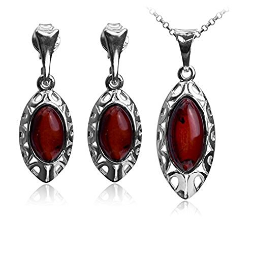Gopher Jewelry Pendant (Cherry Amber Sterling Silver Oval Dangle Earrings Pendant Necklace Set Chain 18