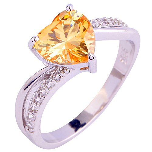 Psiroy 925 Sterling Silver Grace Womens Band Charms Topaz Heart Cut Filled Ring