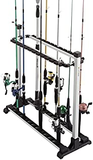Hey! Play! Fishing Rod Rack- Aluminum Freestanding Floor Storage, Organizer Stand for Home or Garage, Fits 24