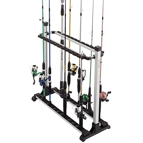 (Wakeman Fishing Rod Rack- Aluminum Freestanding Floor Storage, Organizer Stand for Home or Garage, Fits 24 Freshwater or Saltwater Rods by Outdoors)