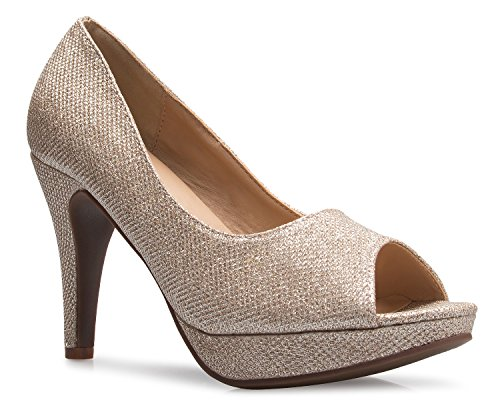 OLIVIA K Women's Sexy Open Toe High Heel Pumps - Basic, Comfortable Sexy Gold Pu Women Shoes