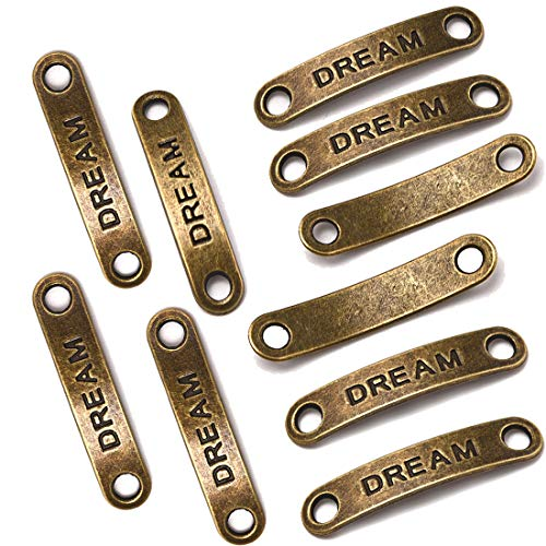 - 10PCS Bronze Rectangle Inspiration Words Charms Message Charm&Pendants Two Holes Dream/Love Lettering Connectors DIY Handmade Jewelry Making