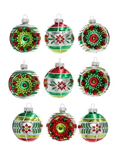 """Christopher Radko Holiday Splendor 2.5"""" Set of 9 Decorated Round Glass Ornaments with Reflectors from Christopher Radko"""