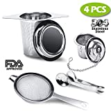 Best Tea Infuser for Loose Leaf Tea,4 PACK Tea Strainer Combo Kits Including-Double Handles Large Tea Steeper, Single Long Handle Tea Filter, Small Cup infuser & Metal Tea Scoop-FDA Approved.