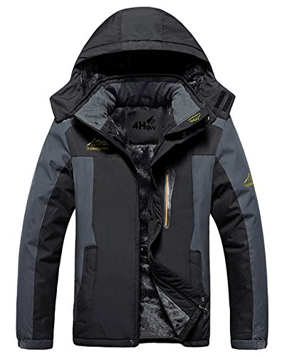 Black Hooded Fleece Jacket (4HOW Men's Mountain Jacket Waterproof Hooded Fleece Ski Coat Outdoor Black Size M)