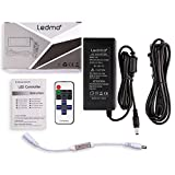 LED Power Supply DC12V 5A Power Transformer AC Adapter and Mini LED Controller Dimmer with RF Wireless Remote Control for Single Color Dimmable LED Strip Lights