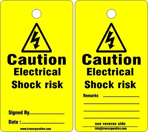 KRM LOTO CAUTION - ELECTRICAL SHOCK RISK (Set of 50 pcs)