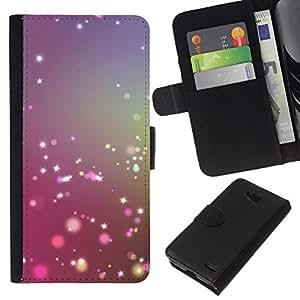 KLONGSHOP // Tirón de la caja Cartera de cuero con ranuras para tarjetas - estrella brillante ilumina el sol brillante de color púrpura - LG OPTIMUS L90 //