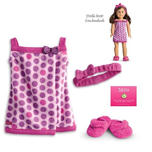 American Dream Spas (American Girl My AG Lots of Dots Bath Wrap Set for Dolls + Charm)
