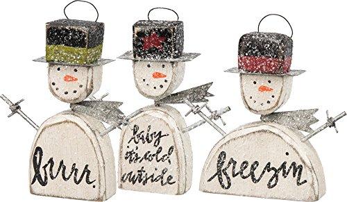 Primitives By Kathy Wood - Adornos Navideños, 3 Unidades, Diseño de Muñeco de Nieve