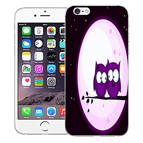 "Mobile Case Mate iPhone 6 4.7"" Silicone Coque couverture case cover Pare-chocs + STYLET - Purple Night Owls pattern (SILICON)"