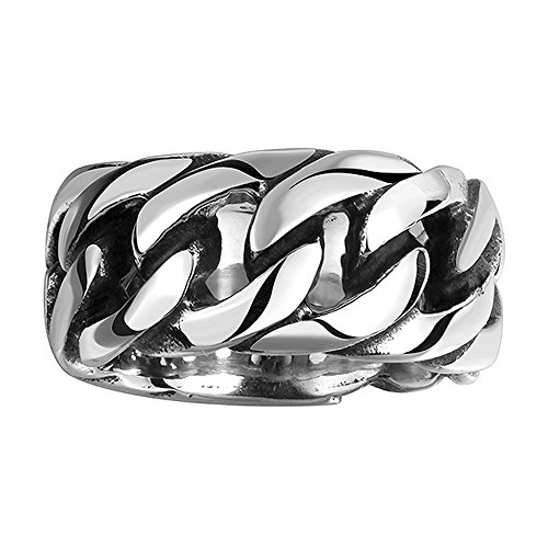autudress Vintage Gothic Embossed Tribal Biker 316L Stainless Steel Openwork Link Chain Rings Band for Men