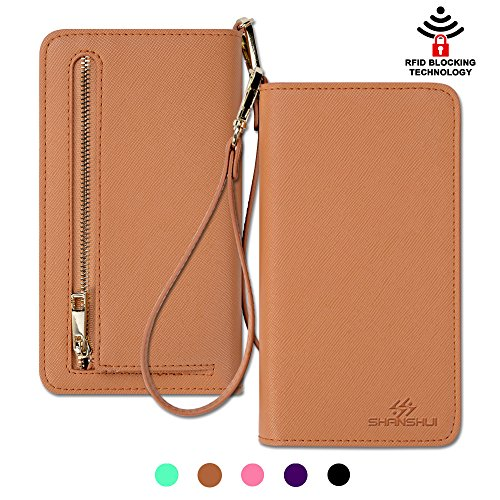 SHANSHUI Genneral Blocking Leather Wristlet product image