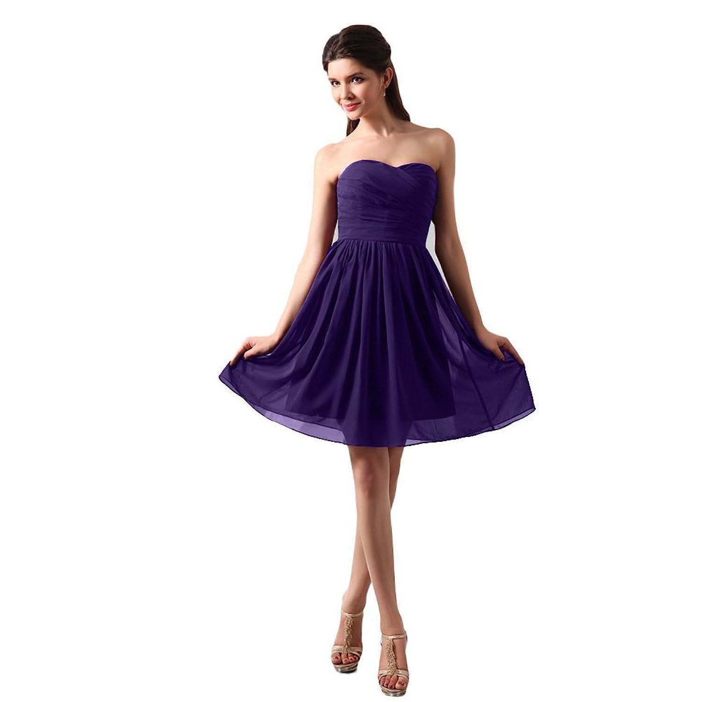 Dearta Women's A-Line Sweetheart Sleeveless Short/Mini Chiffon Bridesmaid Dress