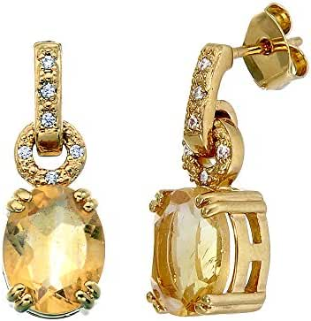 10x8 MM Oval Shape 3.20 CT Citrine Earrings Yellow Gold Plated Earrings