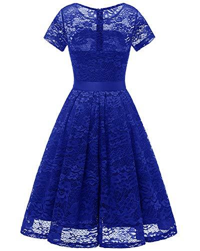dentelle de manches courtes soire de Robe de demoiselle Bridesmay Robe rond Royal col cocktail avec Blue d'honneur ceinture tzw4x1q