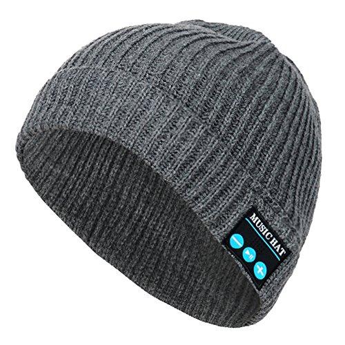 CoCo Fashion drahtlose Bluetooth-Mütze mit Musik phone Freisprech -Stereo-Kopfhörer-Kopfhörer-Lautsprecher-Mikrofon für Fitness Outdoor Sport Wandern Weihnachtsgeschenke (Einheitsgröße, MZ013_Grau)