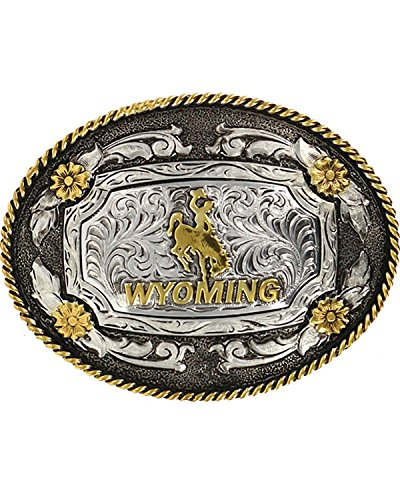 Cody James Men's Oval Wyoming Belt Buckle Silver One Size