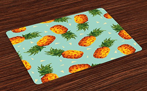 Ambesonne Retro Place Mats Set of 4, Poly Style Pineapples Motif Vintage Beach Summer Modern Illustration, Washable Fabric Placemats for Dining Room Kitchen Table Decor, Seafoam Olive Green Orange (Decor Olive Kitchen)