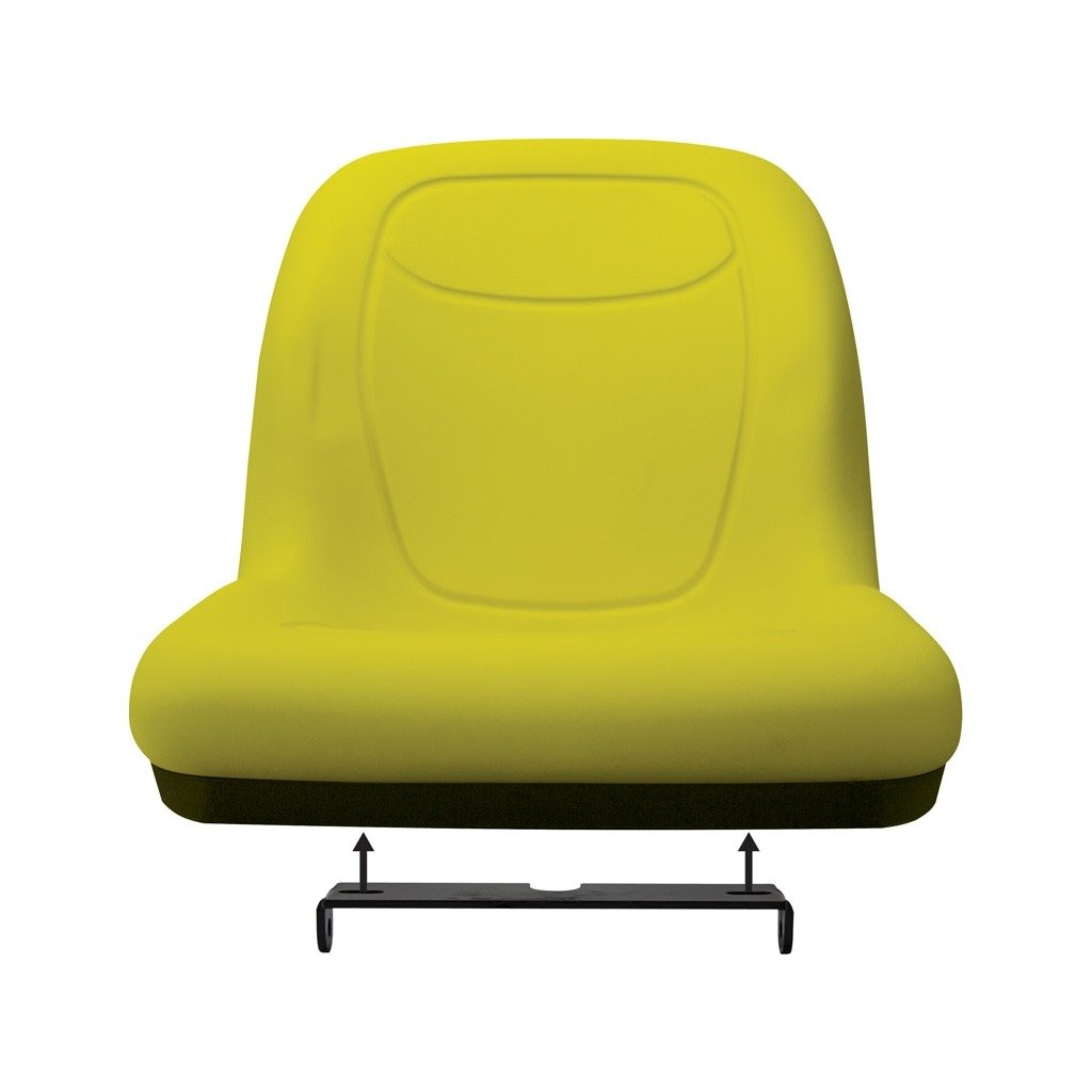K&M 039-6799 JD Gator/Mower UNI Pro Bucket Seat with Hinge Bracket, Yellow Vinyl