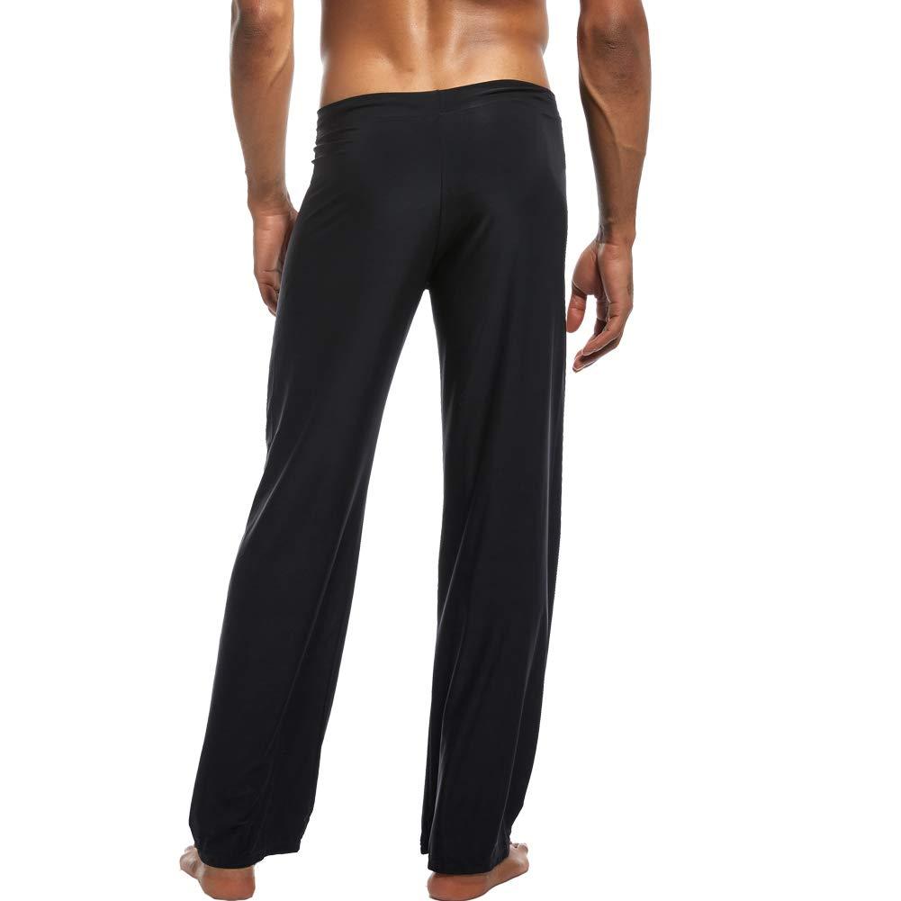 K-Men Men Ice Silk Long Yoga Pants Low Rise Elastic Home ...