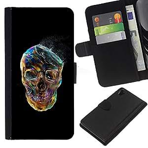 A-type (Cráneo Negro vibrante colorido de humo) Colorida Impresión Funda Cuero Monedero Caja Bolsa Cubierta Caja Piel Card Slots Para Sony Xperia Z2 D6502