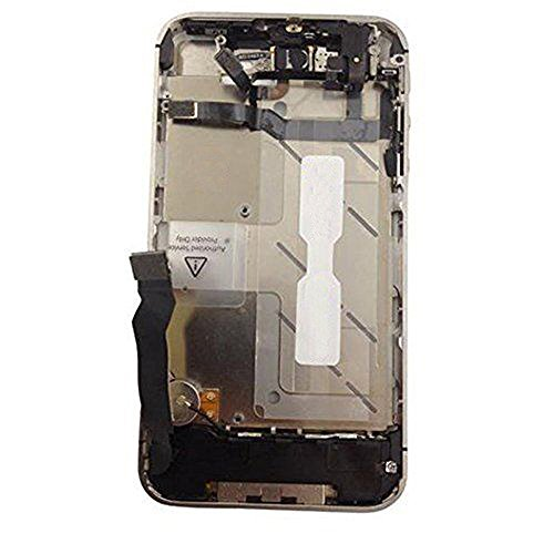 Middle Housing Assembly - QX Electronics Black Middle Mid Frame Housing Chassis Bezel Assembly for Apple iPhone 4S 4GS GSM 1332 Repair Parts Replacement + Cloth