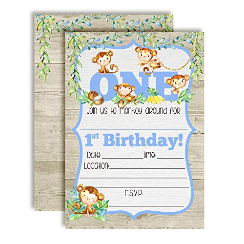 Our Little Monkey Watercolor Jungle First Birthday Party Invitations for Boys, 20 5