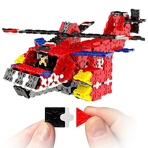 WEofferwhatYOUwant Educational Building Brick Helicopter Figure - 3D STEM Construction Uses 577 Flatblocks Pieces. Creates Different Designs for Children and ()