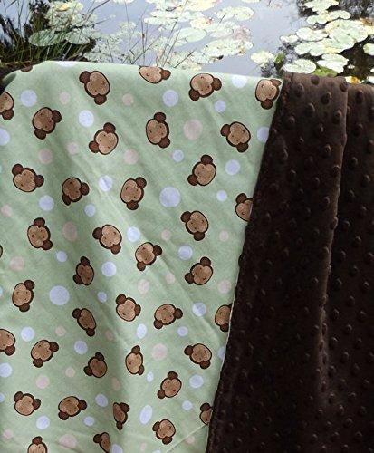 Monkey Around and Minky Crib or Stroller Blanket - Lightweight Blanket - Brown, Cream and Sage