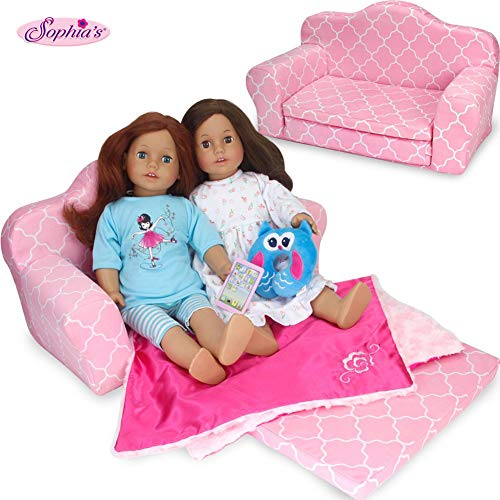 Sophia's 2-in-1 Pink Doll Furniture Pull Out Sofa Bed Plush Couch for Dolls Converts to Double Bed (18 Inch Doll Furniture Couch)