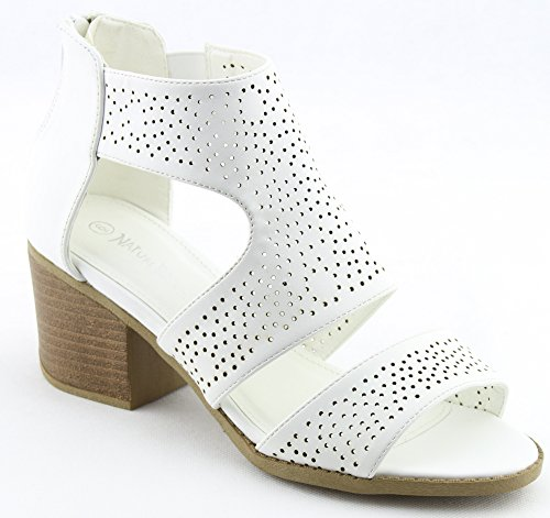 Pu Heel Chunky Women Perforated Leatherette White Peep Toe GG36 Bootie BnqqHzX