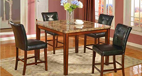 Mega Furnishing Home Kitchen Real marble Dining Bar table with aristocratic leather bar chair 5PC