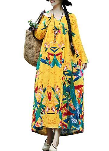 Romacci Women Vintage Loose Dress Boho Contrast Print Long Sleeves Oversized Robe Maxi Long Dress from Romacci