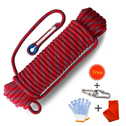 Procity Climbing Rope Professional Outdoor Static Rock Climbing Rope,Escape Rope Ice Climbing Equipment Fire Rescue Parachute Rope (red, 165ft) by Procity