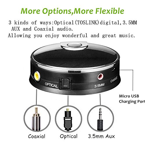 Transmisor de audio Bluetooth 4.0 Audio para Smart TV XBOX PS4 Bose JBL B&W con entradas integradas Óptica Toslink S/PDIF Coaxial.
