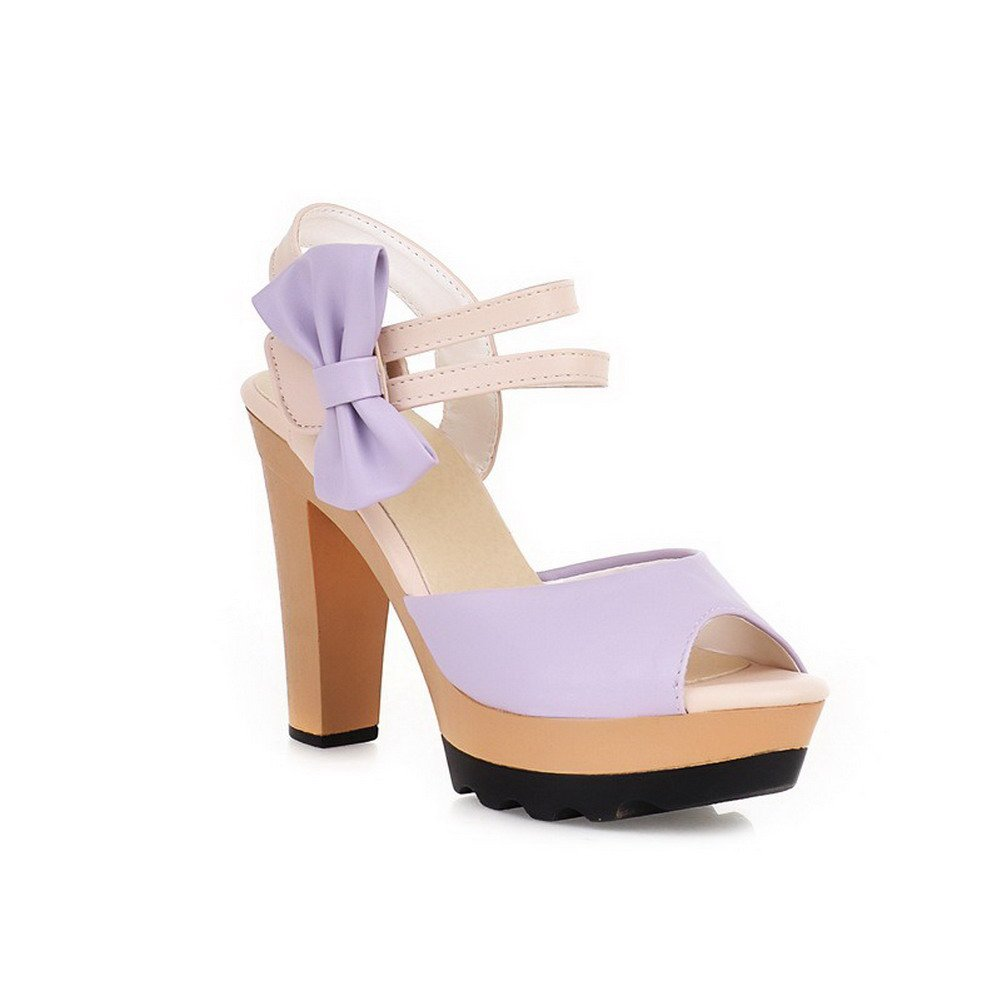 AllhqFashion Women's PU Assorted Color Hook-and-loop Open Toe High-Heels Heeled-Sandals, Purple, 38