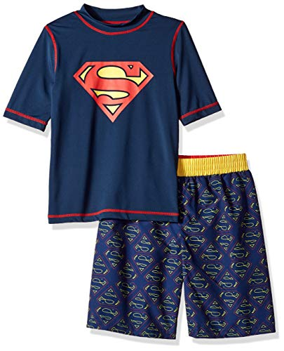 Warner Brothers Little Superman 2-Piece Swim Set, Boys Navy/Yellow, -