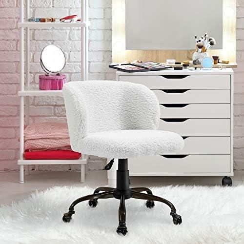 HOMCOM Faux Fur Accent Chair Swivel Sheepskin Leisure Cozy Armchair Fluffy Fleece Vanity Makeup Stool - the best office desk chair for the money