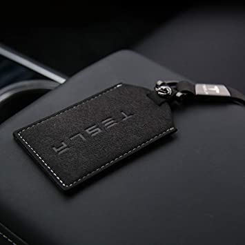 LUCKEASY for Tesla Model 3 Car Leather Key Card Cover Keychain Holder Keychain Red Edge