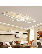 Azanaz Lampa sufitowa LED do salonu, lampa przyciemniana, z pilotem zdalnego sterowania, 3000 K - 6000 K, nowy design, nieregularna prostokątna lampa sufitowa akrylowa, kuchnia, sypialnia, energooszczędna lampa dekoracyjna